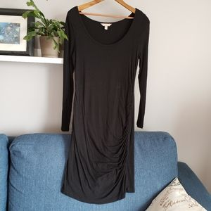 Banana Republic Ruched Black Jersey Dress S